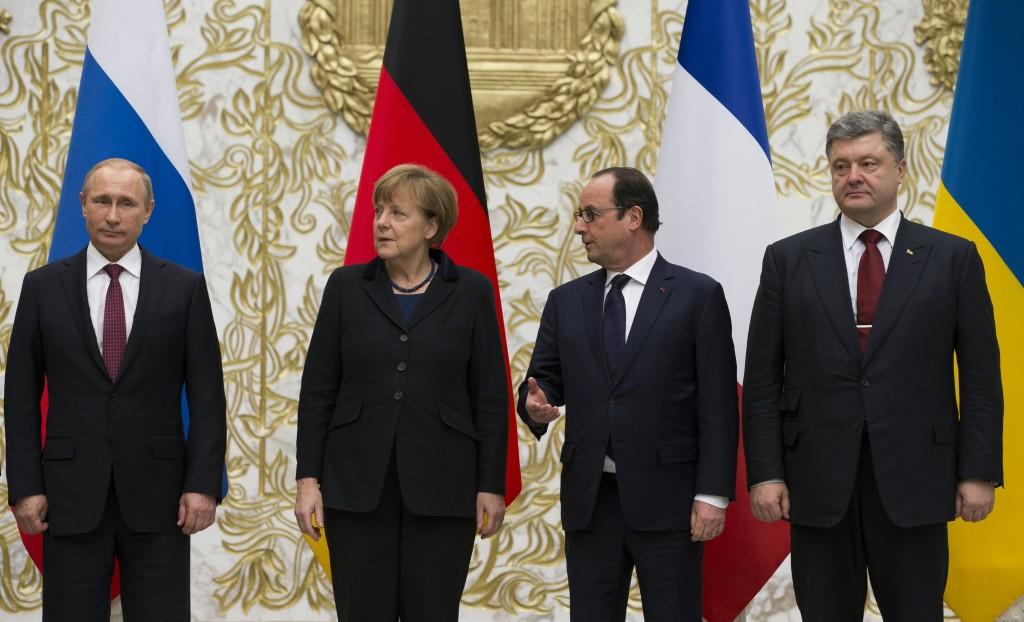 Angela Merkel, Vladimir Putin, Francois Hollande, Petro Poroshenko