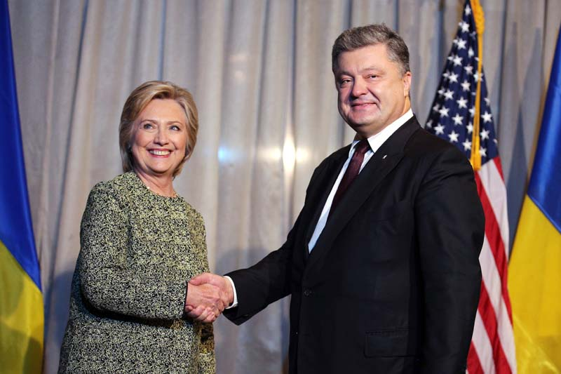 U.S. Democratic presidential candidate Hillary Clinton attends a bilateral meeting with Ukraine's President Petro Poroshenko at a hotel in New York